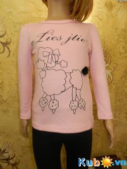 Ảnh số 10: Áo thun dài tay không cổ xuất Nhật cho bé gái từ 3 đến 10 tuổi (có 2 màu trắng và hồng), giá cửa hàng: 145k - Giá: 145.000