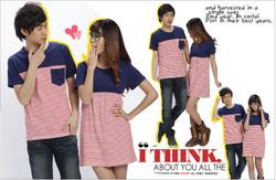 Ảnh số 83: Bộ 2 áo couple sọc - Giá: 24.000