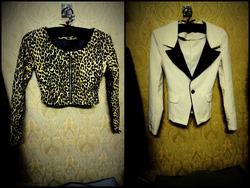 Ảnh số 23: áo khoác lửng chất da họa tiết báo giá 200k- vest trắng cổ pha đen giá 150k2 cái đều sz S - Giá: 200.000