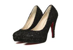 Ảnh số 59: Giày cao gót ren kim tuyến bít mũi - Giá: 340.000