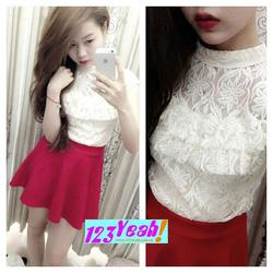 Ảnh số 27: Đầm xòe áo ren tầng bèo váy nhúng xinh DX60 - Giá: 240.000