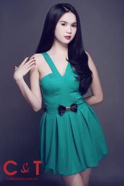 Ảnh số 6: đầm xanh cổ v nơ ngọc trinh - Giá: 150.000
