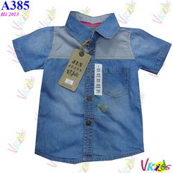 Ảnh số 30: Áo sơ mi phối jin jean 391 size 1-8T R/8 - Giá: 1.100