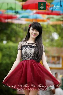 Ảnh số 2: Váy ren chân voan ( MS V1003) : 220k màu: đen và đỏ mận thắt lưng nơ đính ngọc 50k - Giá: 220.000