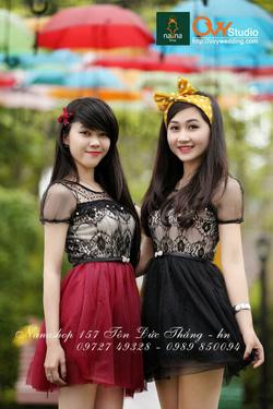 Ảnh số 4: Váy ren chân voan ( MS V1003) : 220k màu: đen và đỏ mận thắt lưng nơ đính ngọc 50k - Giá: 220.000