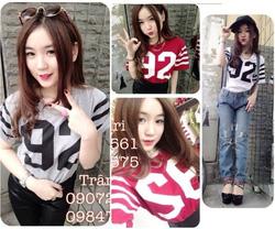 Ảnh số 67: áo thun phối sọc số 92 suri - 170k xám,đỏ,trắng - Giá: 170.000