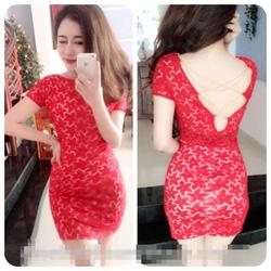 Ảnh số 5: đầm ren đỏ ôm body xích chéo lưng dzung - Giá: 150.000
