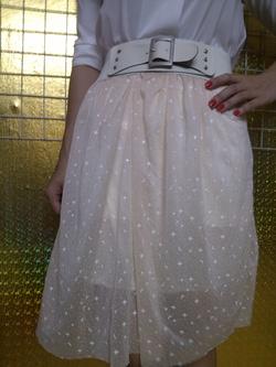 Ảnh số 53: Chân váy voan, đai thắt lưng, họa tiết chấm bi, có màu xanh và trắng - 60k - Giá: 60.000