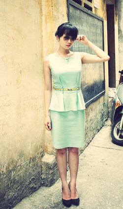 Ảnh số 24: Váy peplum xanh pastel  (không kèm thắt lưng) - Giá: 550.000