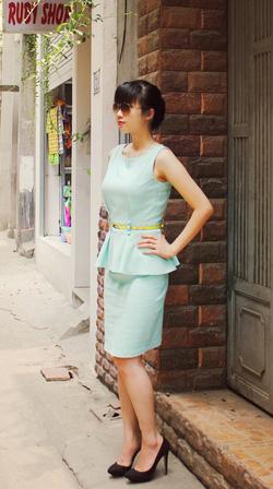 Ảnh số 25: Váy peplum xanh pastel  (không kèm thắt lưng) - Giá: 550.000