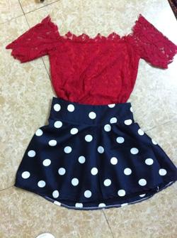 Ảnh số 6: Chân váy bi xoè130k áo ren 120k set 195k - Giá: 130.000