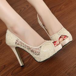 Ảnh số 17: Giày cao gót ren hở mũi - Giá: 300.000