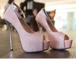 Ảnh số 38: siêu cao gót phủ nhũ kim sa quai cổ chân 4 màu đỏ,đen,hồng,trắng - Giá: 400.000