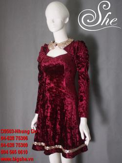 Ảnh số 10: Đầm thu đông D9503 Nhung đỏ - Giá: 950.000