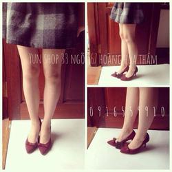 Ảnh số 3: Zara Woman nơ nhỏ Form chuẩn - giày đi êm  Chất liệu giả da lộn - size 35 đến 38 Cao 8cm - Giá: 350.000