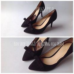 Ảnh số 5: Zara Woman nơ nhỏ Form chuẩn - giày đi êm  Chất liệu giả da lộn - size 35 đến 38 Cao 8cm - Giá: 350.000