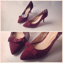 Ảnh số 6: Zara Woman nơ nhỏ Form chuẩn - giày đi êm  Chất liệu giả da lộn - size 35 đến 38 Cao 8cm - Giá: 350.000