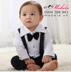 Ảnh số 37: BD518 Body đồng phục học sinh áo trắng quần xanh giả yếm ngỗ nghĩnh chất thun dày mềm cho bé 7-13 cân - Giá: 230.000