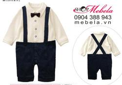 Ảnh số 38: BD518 Body đồng phục học sinh áo trắng quần xanh giả yếm ngỗ nghĩnh chất thun dày mềm cho bé 7-13 cân - Giá: 230.000