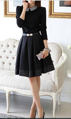 Ảnh số 29: Váy dài tay pha ren / Size: M, L / Màu: Trắng, Vàng, Đen / Xuất xứ Made in Korea - Giá: 380.000