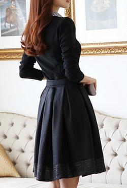 Ảnh số 31: Váy dài tay pha ren / Size: M, L / Màu: Trắng, Vàng, Đen / Xuất xứ Made in Korea - Giá: 380.000