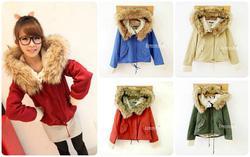Ảnh số 4: Áo khoác kaki mũ lông- chất cực kỳ dày dặn, lót bông ấm bên trong 4 màu như hình kèm màu đỏ đun - Giá: 300.000