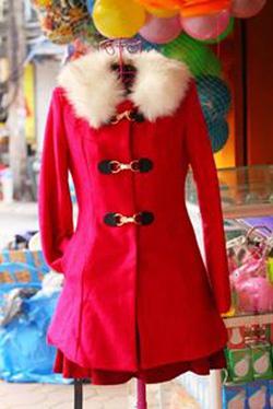Ảnh số 26: Áo dạ cổ lông 3 khuy-chất dạ xù cực đẹp mà ấm lun- 3 màu đỏ, vàng, hồng sen - Giá: 450.000