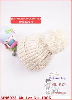 Ảnh số 26: mũ len nữ 2 lớp có quả bông - Giá: 120.000
