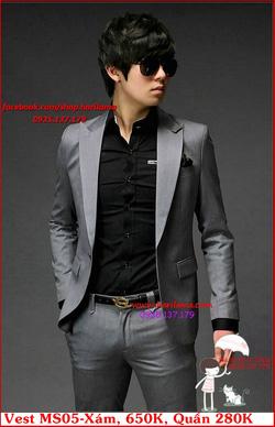 Ảnh số 26: Áo Vest Nam, Áo Vest Dior - NYQ MS05 Xám, Áo Vest Hàn, Áo Vest Cưới - Giá: 650.000
