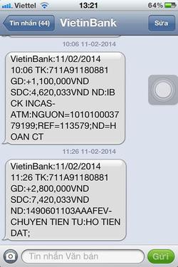 Ảnh số 30: SMS chuyển tiền của khách - Giá: 11.111