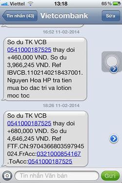 Ảnh số 31: SMS chuyển tiền của khách - Giá: 111.111