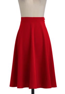 Ảnh số 45: Chân váy midi xòe màu đỏ 2 lớp, 2 túi hông - Giá: 300.000