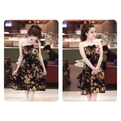 Ảnh số 100: váy voan hoa quây nơ ngự có 2 màu đen ,xanh than giá:280k - Giá: 280.000