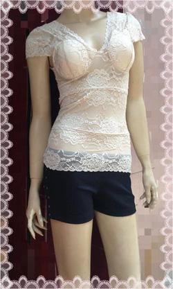 Ảnh số 55: Áo ren màu nude, có sẵn quả ngực, free size, chất ren co giãn, mặc rất gợi cảm - 110k - Giá: 110.000