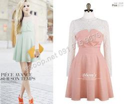 Ảnh số 93: B133 - Váy liền Hàn Quốc đáp ren dáng xòe - Giá: 1.720.000