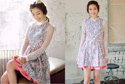 Ảnh số 75: B143 - Váy liền họa tiết Hàn Quốc dáng xòe - Giá: 2.050.000