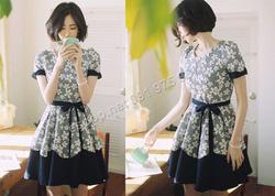 Ảnh số 59: B159 - Váy liền họa tiết nổi Hàn Quốc dáng xòe - Giá: 2.140.000