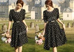 Ảnh số 56: B161 - Váy liền chấm bi Hàn Quốc dáng xòe - Giá: 2.100.000