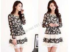 Ảnh số 49: B167 - Váy liền ren họa tiết Hàn Quốc dáng xòe - Giá: 1.580.000