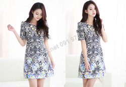 Ảnh số 48: B168 - Váy liền họa tiết Hàn Quốc dáng A - Giá: 1.980.000