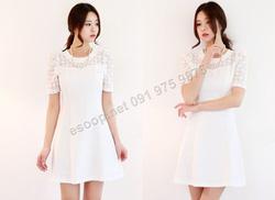 Ảnh số 47: B169 - Váy liền đáp ren Hàn Quốc dáng A - Giá: 1.960.000