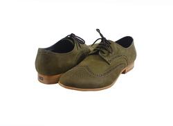 Ảnh số 2: Giày tây nam Zapatos da sáp đục lỗ màu xanh rêu (KT-500) - Giá: 899.000