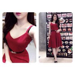 Ảnh số 13: váy 2 dây xòe có màu đỏ và hông sen - Giá: 290.000