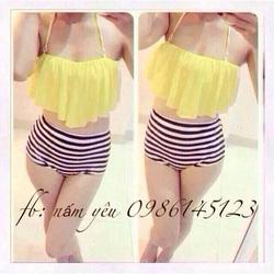 Ảnh số 20: Bikini áo nhúng voan vàng + quần sọc trắng - Giá: 120.000