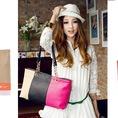 Túi xách đan chéo phối 3 màu thời trang