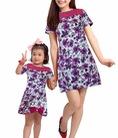Set váy Mẹ Bé với thiết kế tinh tế màu sắc hoa tím sang trọng chất liệu mềm mại co giãn