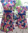 Set váy mẹ và bé hoa lụa mềm mại hàng may đo thiết kế