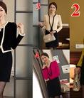 Váy công sở dài tay chất liệu thun Laza Hàn Quốc yêu lắm nhé.