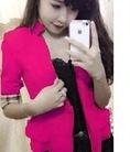 Áo khoác cổ vest tay lửng phối sọc màu cho Lady