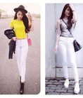 Quần kaki jeans trắng, NEW 100%